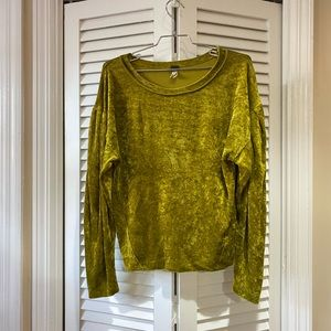 free people lime green velour top